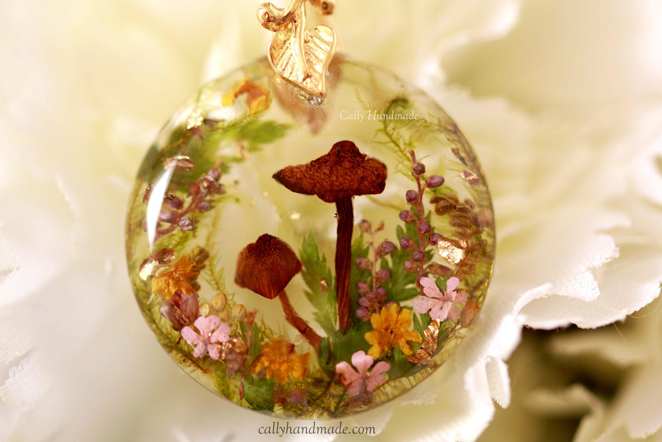 collier nature champignons cally handmade