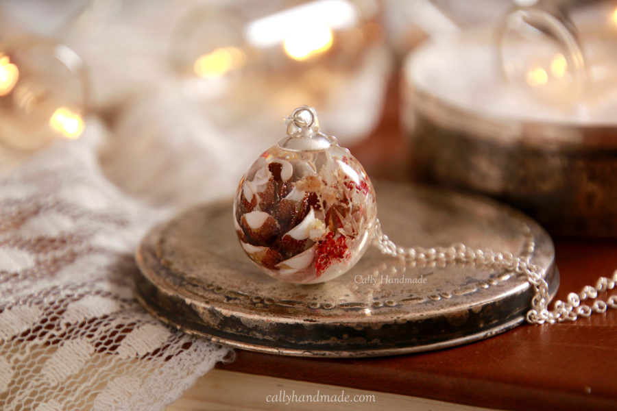 collier pomme de pin snow hiver nature argent 925 cally handmade