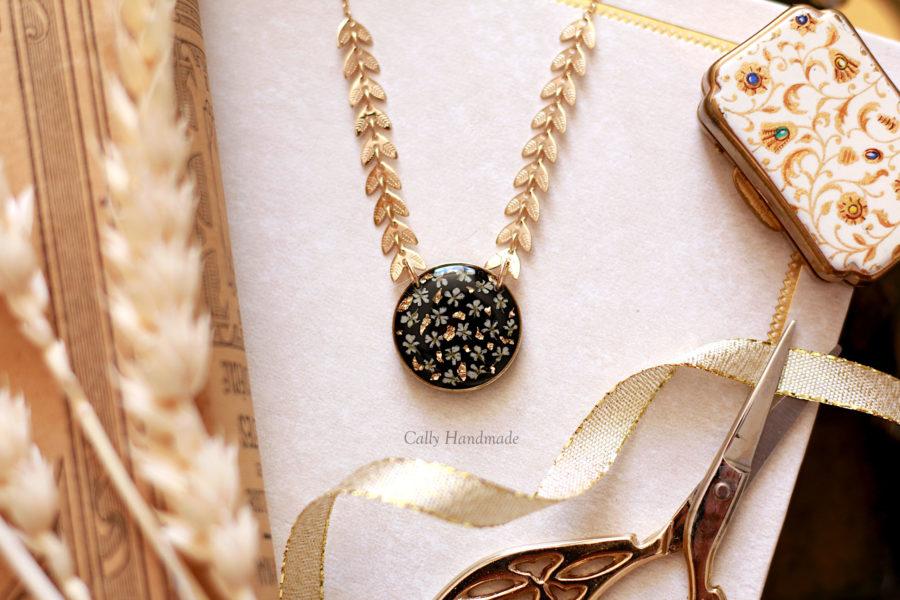 collier plaqué or épis de blés
