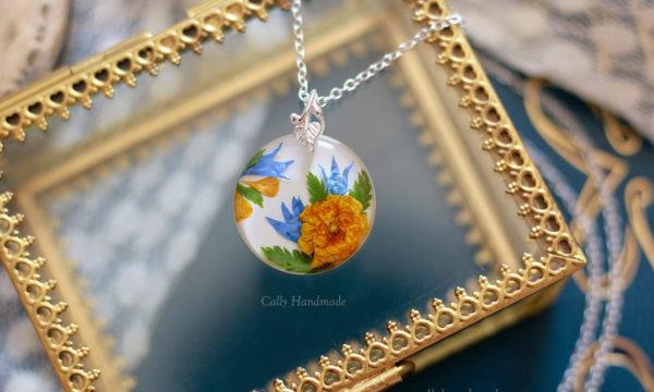 collier en argent 925 fleurs bleuet et renoncule