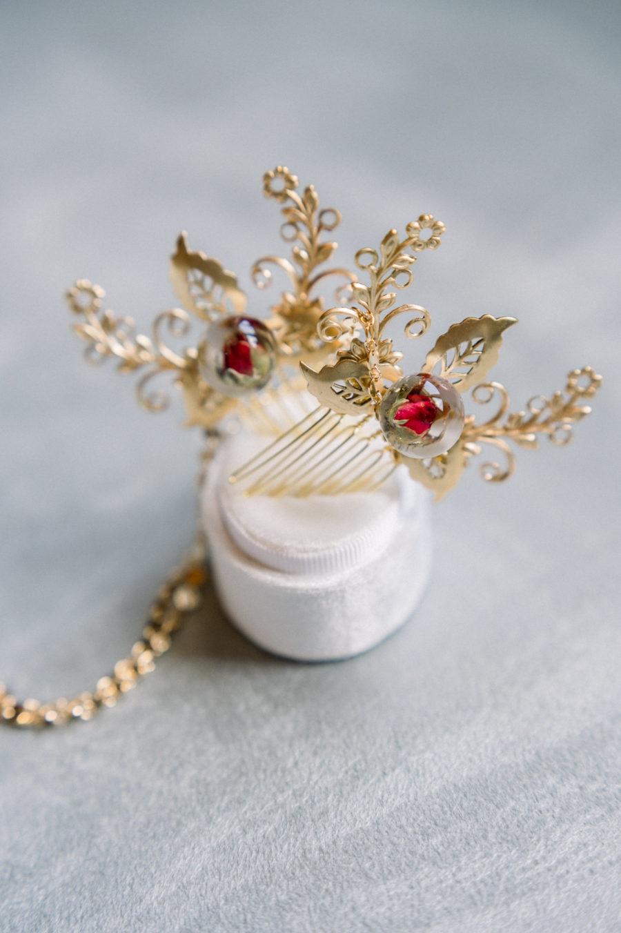 peigne or rempli rose rouge mariage résine bijoux cheveux accessoire