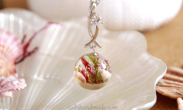 collier argent rhodié mer coquillages